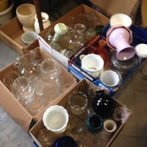 5 boxes of vases - about 6 dozen or so - mostly glass but also milk glass and a few others