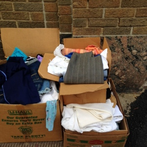 Three boxes of free clothing. There's more free stuff out there - come and get it!