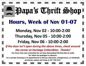 Hours - Week of 11 01 2015