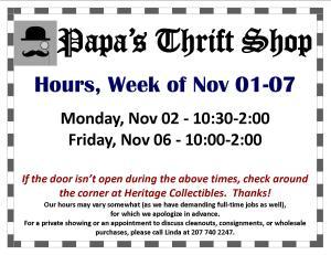 Hours - Week of 11 01 15 updated