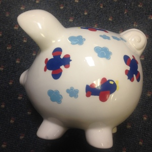 Airplane Piggy Bank - side