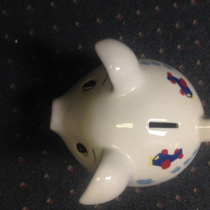 Airplane Piggy Bank - view from above